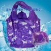 190T ployster rose flower shape recyclefoldable shopping bag
