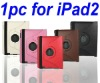1PCS Fashionable Smart Cover Leather Case With Rotating Stand For Apple iPad 2