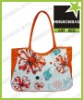 2012 flower printed zipper nylon beach bag