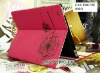 2012 iCool Dandelion Red PU leather case with stand for ipad 2