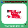 Big red polyester luggage belt with flag