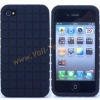 Black Grid Design Silicone Skin Case Cover for iPhone4