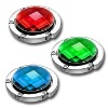 Blue red green crystal foldable bag hangerr metal foldaway purse hanger epoxy