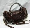 Brown PU leather hand bag