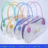 Clear pvc shopping bag for gift with zipper and handle