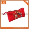 Cute nation style wrist travel red ziplock quilted makeup bag