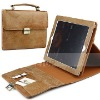 Exclusive top layer cow genuine leather case for iPad 2 with shiny metal buckle