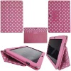 For Samsung Galaxy Tab 10.1 P7510 P7500 Flip Leather Case Polka Dots Pattern (Pink with white dots)