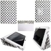 For Samsung Galaxy Tab 10.1 P7510 P7500 Flip Leather Case Polka Dots Pattern (White with black dots)