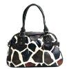 Giraffe Print Pleated Satchel Bag