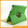 Green Rotate Leather Case with Stand for Apple iPad2, Embossed Cute Cartoon Faerie Pattern, Rotatable Folding Cover for iPad 2