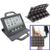 Grid Leather Case with Holder Handbag for iPad 2