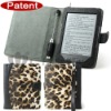 Leopard pattern leather case with reading lamp cases for kindles