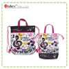 Music drawstring nylon shopping bag