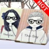 New sweety couple's Lover Boy and Girl Leather Case Cover skin for iPad 2 PU Pouch Glasses Skin 3D Pouch