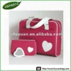 PU Red Lady Laptop Bag with White Handle