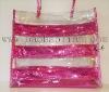 PVC shoulder bag with magenta sequins