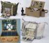 Picnic basket and picnic bag with full set of dinnerware at competitive price.