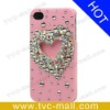 Pink Sparkling Heart Rhinestone Diamante Hard Case for iPhone 4 4S