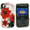 Pretty Red Flowers Design Silicone Skin Case Cover for Blackberry Curve 8520&8530