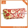Pretty flower pattern red cotton quilted small practical makeup bag