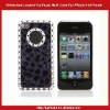 Rhinestone Leopard Fur Print Hard Cover For iPhone 4 4S-Purple