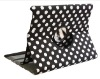 Rotating Polka Dot Stylish Leather Case Cover W/Stand For iPad 2 Black