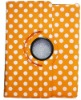 Rotating Polka Dot Stylish Leather Case Cover W/Stand For iPad 2 Orange