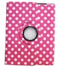 Rotating Polka Dot Stylish Leather Case Cover W/Stand For iPad 2 Rose