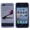 Shiny High-heeled Shoe-Silver&Black Diamond Hard Protect Case Shell For iPhone 4G