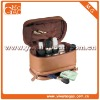 Small leather toiletry ziplock brown travel cosmetic box