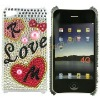 Sweat Love and Heart Pattern Rhinestone Hard Protect Shell Skin For Apple iPhone 4G