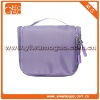 Travel portable purple terylene zipper cosmetic bag with handle