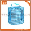 Travel ziplock,small blue stripes satin toiletry cosmetic packaging