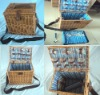 Willow picnic basket basket including dinnerware such as fork,knife,spoon etc.
