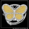 YELLOW BUTTERFLY CRYSTAL FOLDABLE BAG PURSE HANGER HOOK