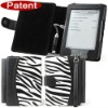 Zebra pattern leather case with lamp for kindle case