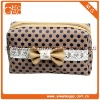 Ziplock small brown canvas white dots toiletry makeup bag with bowknot
