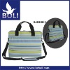 blue&green stripes polyester laptop bag with full lining