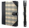 for Apple iPad Leather tartan case cover Red!