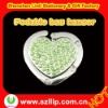 green heart shape alloy diamond portable jewelry bag hanger