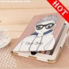 lovely boy and girl leather case for iPad2 Glasses PU Pouch Cover Cases Skin Couple Case 3D Pouch